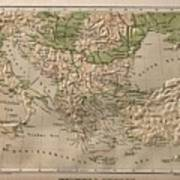 Vintage Physical Map Of Greece - 1880 Drawing by CartographyAssociates