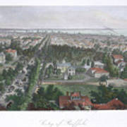 Vintage Pictorial Map Of Buffalo Ny - 1872 Art Print