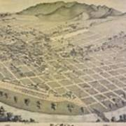 Vintage Pictorial Map Of El Paso Texas - 1886 Art Print