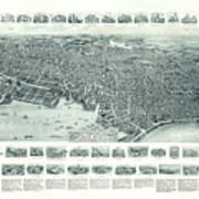 Vintage Pictorial Map Of Lynn Massachusetts - 1916 Art Print
