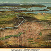 Vintage Pictorial Map Of Newark Nj - 1916 Art Print