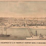 Vintage Pictorial Map Of Newport News Va - 1862 Art Print