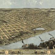 Vintage Pictorial Map Of Omaha Nebraska - 1868 Art Print
