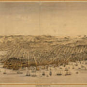 Vintage Pictorial Map Of San Francisco - 1868 Art Print