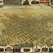 Vintage Pictorial Map Of San Jose Ca - 1901 Art Print