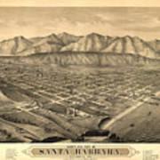 Vintage Pictorial Map Of Santa Barbara Ca - 1877 Art Print