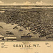 Vintage Pictorial Map Of Seattle - 1884 Art Print