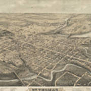 Vintage Pictorial Map Of St. Thomas Ontario - 1875  Art Print