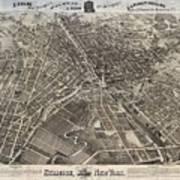 Vintage Pictorial Map Of Syracuse New York - 1874 Art Print