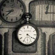 Vintage Pocket Watch Over Old Clocks Art Print
