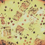 Vintage Poker Card Background Art Print