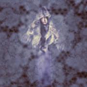 Vintage Portrait. Elegant Girl Wearing Lace Veil Art Print