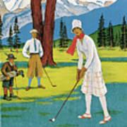 Vintage Poster Advertising Samaden In Switzerland Art Print