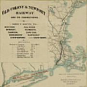 Vintage Railway Map 1865 Art Print