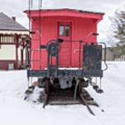 Vintage Red Caboose In The Snow Art Print