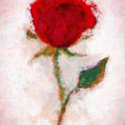 Vintage Red Rose  Art Print