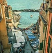 Vintage Riomaggiore Cinque Terre Italy Art Print