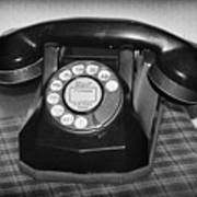 Vintage Rotary Phone Black And White Art Print