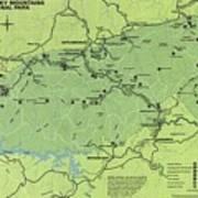 Vintage Smoky Mountains National Park Map Art Print