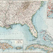 Vintage Southeastern Us And Caribbean Map - 1900 Art Print