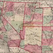 Vintage Southwestern United States Map - 1869 Art Print