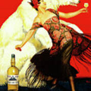 Vintage Spanish Liquor Ad, Flamenco Dancer, Polar Bear Art Print