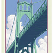 Vintage St. Johns Bridge Travel Poster Art Print