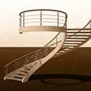 Vintage Stair 48 Escalera Caracol Helicoidal Art Print