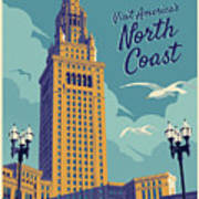 Cleveland Poster - Vintage Style Travel  Art Print
