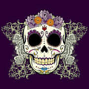 Vintage Sugar Skull And Flowers Art Print