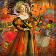 Vintage Taurus Gothic Whimsical Collage Woman Fantasy Art Print