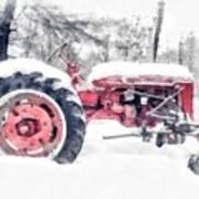 Vintage Tractor Christmas Art Print
