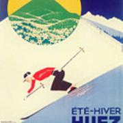Vintage Travel Skiing Art Print