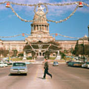 Vintage View Of The Texas State Capitol And Christmas Decorations Strung Along Congress Avenue From December 1960 Art Print