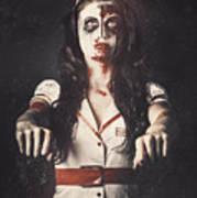 Vintage Walking Dead Horror Nurse Art Print