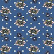 Vintage Wallpaper Seamless Rose Flower Pattern On Circles Polka  Art Print