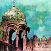 Vintage Watercolor Gazebo Ornate Palace Mehrangarh Fort India Rajasthan 2a Art Print