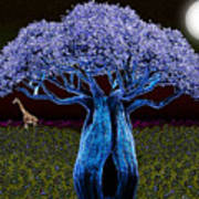Violet Blue Baobab Art Print