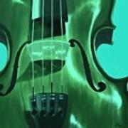 Violin In Green Art Print