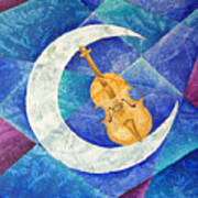 Violin-moon Art Print