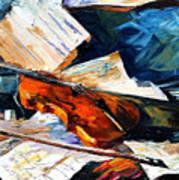 Violin - Palette Knife Oil Painting On Canvas By Leonid Afremov Art Print