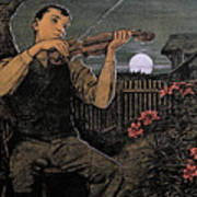 Violin Player To The Moon Art Print