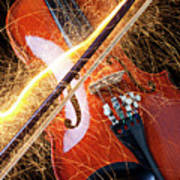 Violin With Sparks Flying From The Bow Art Print by Garry Gay