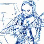 Violinist In Blue II Art Print