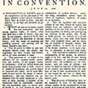 Virginia Constitution, 1776 Art Print