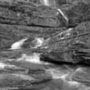 Virginia Falls Glacier Cascades - Black And White Art Print