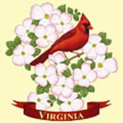 Virginia State Bird Cardinal And Flowering Dogwood Art Print