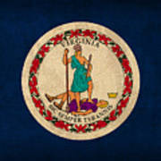 Virginia State Flag Art On Worn Canvas Edition 2 Art Print