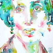 Virginia Woolf Watercolor Portrait Art Print