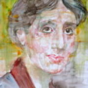 Virginia Woolf - Watercolor Portrait.7 Art Print
